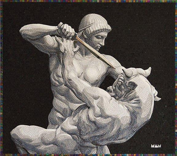 Theseus+and+Minotaur+glass+mosaic+Mosaico+Arte+e+Mestieri_#mosaicart